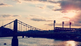 The Roberto Clemente Bridge and PNC Park on Pittsburgh's North Shore at sunset Photo Credit: Neil Strebig