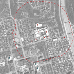 An overhead shot of the EMI district and the surrounding 1,000-foot radius.