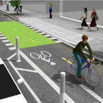Examples of two-way bicycle track. Models are based off our Cambridge, MA and Washington, D.C. designs. Photo courtesy of NACTO.