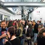 Guests flood the first floor of the Mattress Factory during Imbibe Northside on Saturday, February 3, 2018. Photo credit: Rebecca Lessner