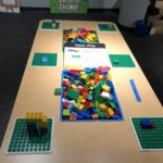 An interactive LEGO exhibit inside the Scaife Exhibit Gallery. Photo by Sarah Gross