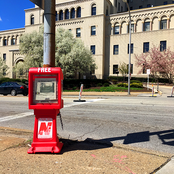 northside chronicle newspaper box at north and cedar avenues