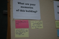 Visitors filled out index cards with their ideas/opinions about the library
