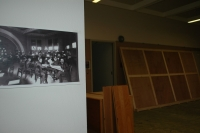 Old pictures of the library were hung throughout the building